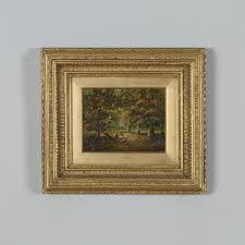 antique english small oil painting of autumnal forest country scene attrible to joseph thors circa