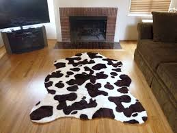 plush brown white faux cowhide