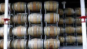 storage oak wine barrels. Forklift Transporting Oak Wine Barrels In Storage; Australia Royalty-free Stock Video Storage T