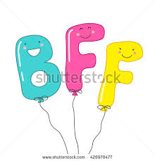 stock vector cute balloons as smiling cartoon characters of letters bff best friends forever can be used as