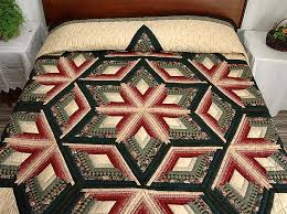 Diamond Star Log Cabin Quilt -- marvelous made with care Amish ... & Green and Burgundy Diamond Star Log Cabin Quilt Photo 1 ... Adamdwight.com