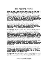 boo radley s journal th gcse english  page 1 zoom in