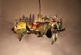 sculpted metal and stained glass chandelier