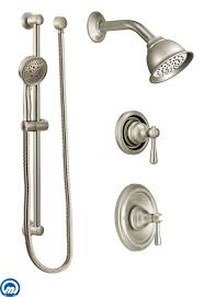 shower bar system. Moen 525BN Brushed Nickel Pressure Balanced Shower System With Head, Diverter, And Hand From The Kingsley Collection (Valves Included) Bar