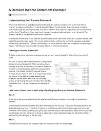 Financial Statement Examples A Detailed Income Statement Example