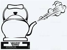 gas stove clipart black and white. tea kettle on gas stove royalty-free stock vector art clipart black and white p