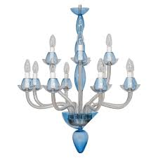 vintage modern italian chandelier in murano glass transpa and light blue for