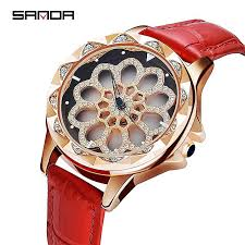 sanda women watches watches woman fashion crystal watch women las leather band watches montre femme whole