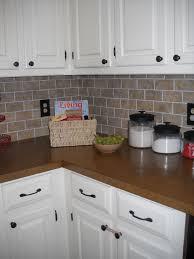 cheap kitchen backsplash ideas. Perfect Cheap DIY Brick Backsplash Using Vinyl Floor Tiles Cut Into Mini  And Cheap Kitchen Backsplash Ideas