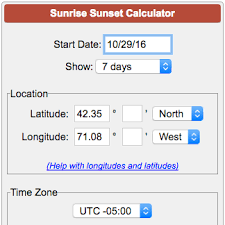 Sunrise Sunset Chart Sunrise Sunset Times