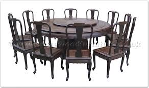 Rosewood Blackwood round dining table curve style apron 12 chairs