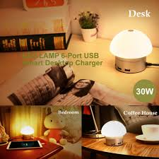 One Touch Lamps Bedroom One Touch Led Lamp 6 Port Usb Smart Desktop Charger 30w 6a Pdair