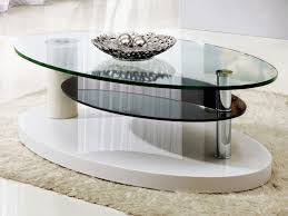 Coffee Table Oval Glass Coffee Table With Shelf Contemporary Coffee Table  Glass Wood Living Room Small Living Room Coffee Tables
