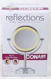details about conair round shaped double sided battery operated mirror polished chrome finish