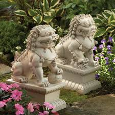 dog garden statue. Foo Dog Garden Statues, White Statue A
