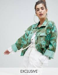 women s clothing green reclaimed vintage revived cropped overdyed camo jacket that ll make you stand