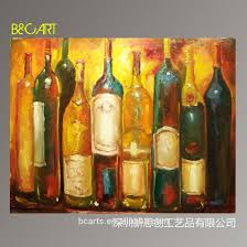 Handpainted canvas Abstract wine bottle still life oil painting for home  decoration