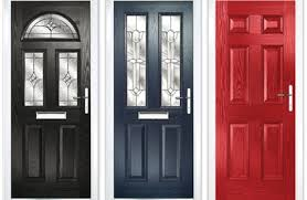black with half moon glass blue with twin glazing option red solid door