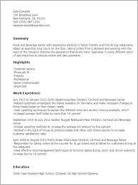 Food And Beverage Attendant Resume Cover Letter Samples