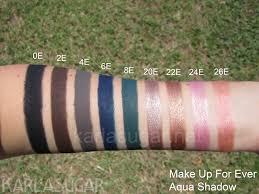make up for ever mufe aqua shadow swatches 0e 2e