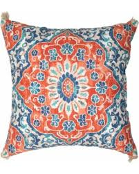 Spectacular Deal on Outdoor Pillow Coral & Blue Batik