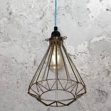 steel geometric cage pendant light clb 00549 light blue