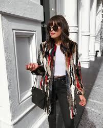 coat printed coat multicolor faux fur coat top white top sunglasses bag black bag denim