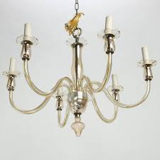 mid century modern six arm pale amber murano glass chandelier for