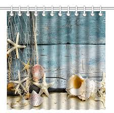 wknoon 72 x 72 inch shower curtain awesome 3d nature print pictures starfish seas on old wood beach view waterproof polyester fabric decorative bath