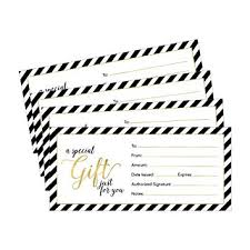 Amazon Com 25 4x9 Gold Blank Gift Certificate Cards Vouchers For