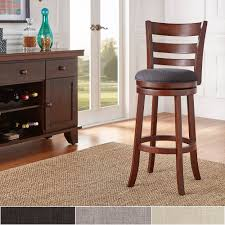 Verona Linen Ladder-back Swivel 29-inch High Back Bar Stool by iNSPIRE Q  Classic - Free Shipping Today - Overstock.com - 13431197