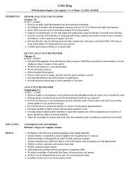 Analytics Developer Resume Samples Velvet Jobs