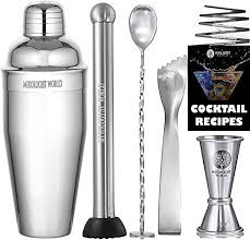Mixology <b>Cocktail Shaker</b> with Recipes - 5 pieces Bartender <b>Set</b> 24 ...