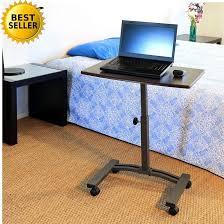rolling casters table over bed laptop desk cart height adjustable desktop computer desk
