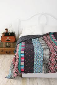 Bohemian stripe Patchwork quilt Concept: white bedding with ... & Bohemian stripe Patchwork quilt Concept: white bedding with minimal color  accents (e. Pillows, quilt, blanket, throw) // stacked suitcases for bed  side ... Adamdwight.com