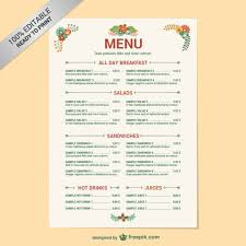 breakfast menu template editable restaurant menu template vector free download
