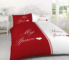 my space your space red and white duvet cover and 2 pillowcase set available in super king bed sizes