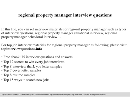Property Manager Job Description Samples Regional Property Manager Interview Questions