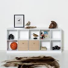 horizontal shelving unit by oliver with white or oak drawers