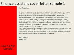 finance cover finance assistant cover letter