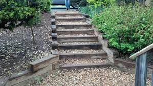 exterior: Wonderful Outside Steps Constructed By Wooden Ladder And Created  Without Railing To Enhance Small