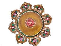 Pooja Ki Thali Design Buy Pooja Ki Thali Made By Wooden And Paper Mache Art With