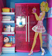 barbie kitchen set house furniture pink refrigerator food dollhouse new open box barbie doll house furniture sets
