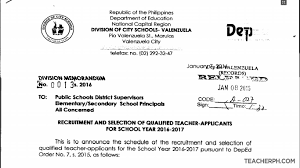 Deped Valenzuela 2016 Recruitment And Selection Of Qualified