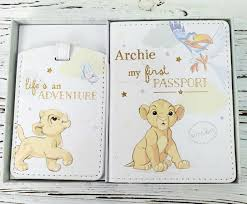 personalised disney baby first pport er and luge gift set lion king