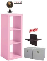 com better homes and gardens 3 cube storage organizer bookshelf in pink with free kitchen dining