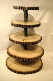 tree slice cake stand wood dessert wooden tiered cupcake natural diy
