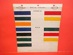 Tisco Paint Color Chart 1946 1956 Federal Mack Reo White Truck Paint Chips Color