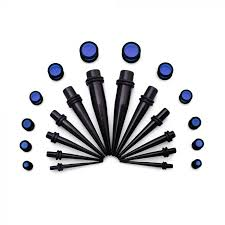 Tapers And Plugs Size Chart Ear Stretching Kit 8g 00g Black Acrylic Tapers And Blue Plugs 24 Pieces