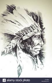 Sketch Of Tattoo Art Native American Indian Head Chief Isolated